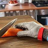 Schnittschutzhandschuhe, GOCHANGE Lebensmittelecht Schnittfeste Handschuhe, Sicherheit aus Edelstahl Metallgewebe Handschuh - 5