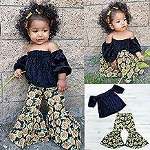 Covermason Niños Ropa Venta de liquidación Niños pequeños Bebés y niñas Trajes Black Off Shoulder Tops + Sunflower Printed Trousers 2PCS Set(2T, Azul oscuro)