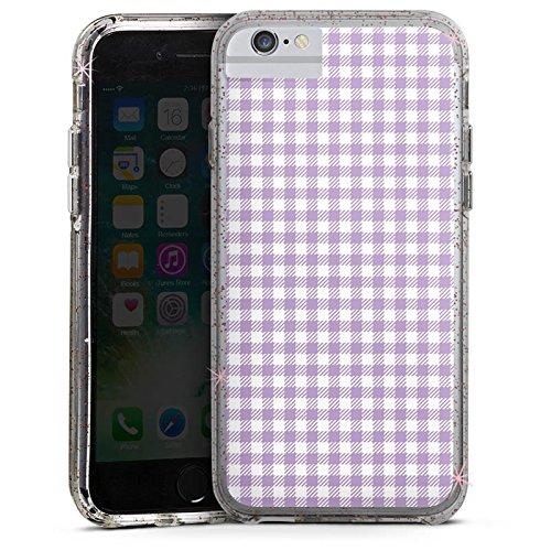 Apple iPhone 6 Bumper Hülle Bumper Case Glitzer Hülle Karomuster Flieder Lila Bumper Case Glitzer rose gold