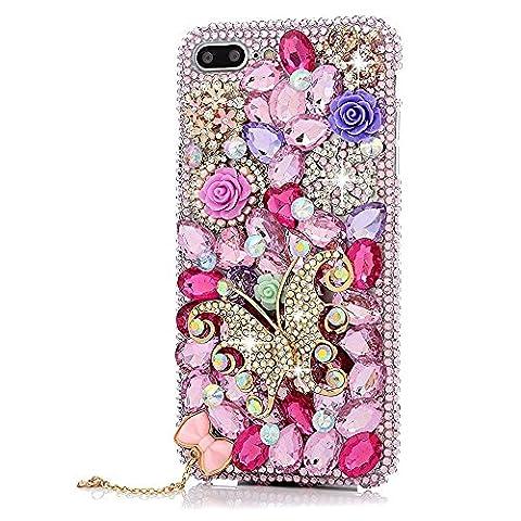 iPhone 8 Plus Hülle, STENES 3D Handgefertigt Diamant Schutz Handy Tasche Kristall Hülle für iPhone 7 Plus / iPhone 8 Plus mit Retro Anti Staub Stecker - Schmetterling Krone Blumen Rose Bogen Anhänger