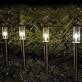 Set 4x LED Wegeleuchten (Strom) aus Edelstahl mit Erdspieß für Garten außen von Gartenpirat®