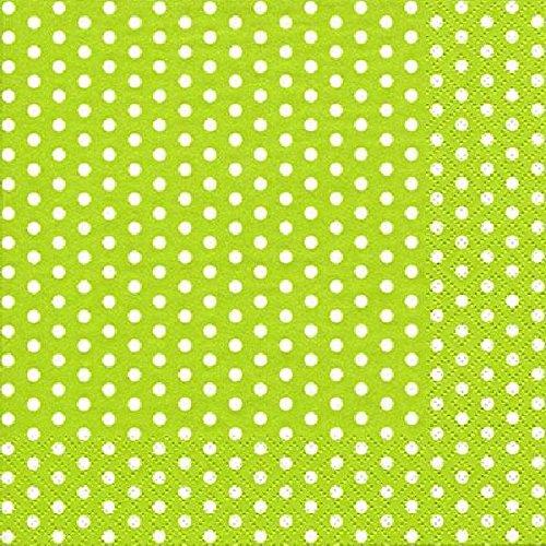 Servietten Tissue mit Pünktchen / 20 Stück / grün weiss / 33x33cm / 3-lagig (Papier-servietten Hellgrün)
