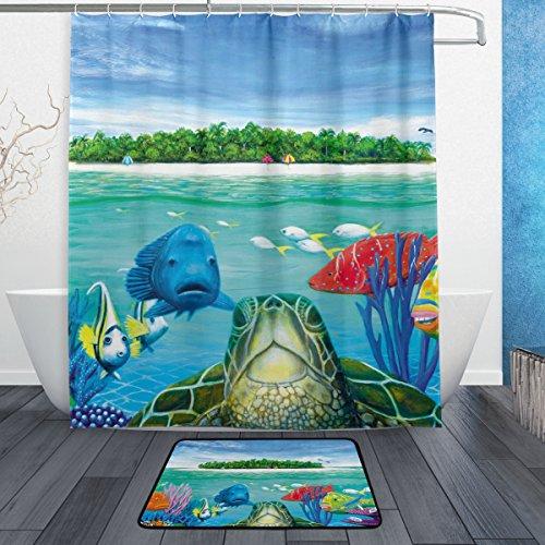 My Daily Meer Schildkröte Fisch Duschvorhang mit Badteppich Teppich & Haken, schimmelresistent & Wasserdicht Polyester Dekoration Badezimmer Vorhang Set - Meer Duschvorhang-sets
