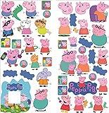 Peppa Pig stickers muraux pour les salles de jeux garçons et filles sticker mural art papier peint autocollant et chambre Wall Art garçon fille PEPPA PIG famaly autocollant LIGHT SWITCH PLUG SURROUND stickers muraux taille 70 cm x 35 cm x 2 feuilles
