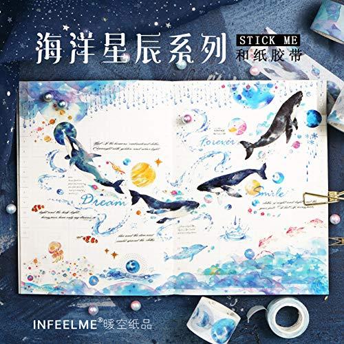 22pcs Ocean Starry Sky Whale Papier Washi Tape Märchen Tier Alice Abdeckbänder für Tagebuch Album Scrapbooking Dekoration Schreibwaren ()