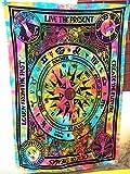 Future Handmade - Arazzo da parete multicolore a motivo mandala indiano bohemien con ciclo astrologico, ideale anche come telo da spiaggia o copriletto, 206x 140cm