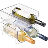 mDesign Set of 2 Bottle Rack - Crystal Clear Storage for Wine Bottles - Modern Wine Cellar Extends Wine and Cork Life - Stackable Wine Racks - Holds 4 Bottles Each - Clear