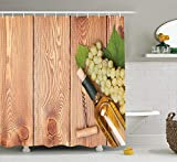 JIEKEIO Winery Decor Shower Curtain Set, Wine Bottle And Bunch of Grapes On Wooden Table Background Romantic Italian Dinner Theme, Bathroom Accessories, 60W X 72L Inches, Green Brown
