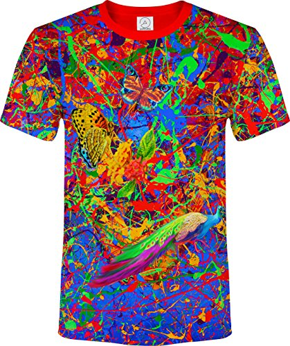 aofmoka Spritzen Flamingo Schmetterling Löwe Vogel Abstrakt Fluoreszierender Blacklight Neon T-Shirt (Design-junioren Tag Tee)