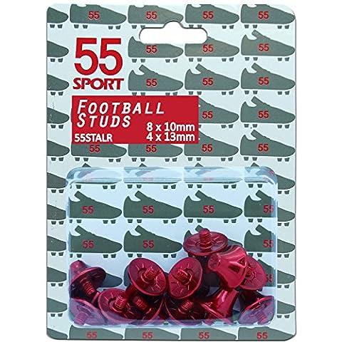 55Sport Pro Custom Alliage léger de football Clous 8x 10mm 4x 13mm, Red