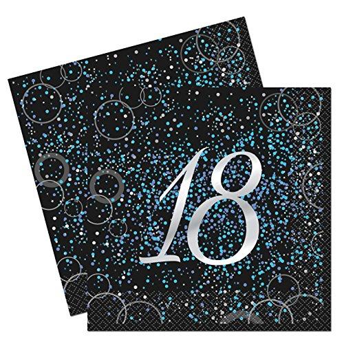 Unique Party 57468Glitz Blau Folie zum 18. Geburtstag Papier Servietten, 16Stück (18 Geburtstag Party Supplies)