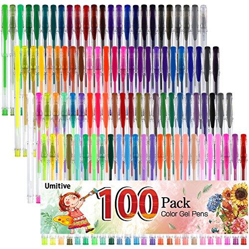 Umitive 100 Penne Gel Colorate Glitter, Inchiostro Gel,Brillantini, Multicolore-Glitter, Metallizzati,Classici, Pastello,Neon, Swirl e Glitter-neon, Per Adulti Colorare Libri, Disegnare e scrivere