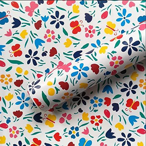 PILIBEIBEI Selbstklebende Wandbild, dekorative Blumenmuster Schublade Regal Liner Selbstklebende Kontaktpapier für Schränke Kunsthandwerk (45 * 1000 cm)