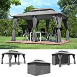 Garten Pavillon 3x4m inkl. Seitenwänden Wasserdicht Partyzelt Grau