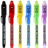 6 stuks uv-licht pen set onzichtbare inkt pen kinderen spionage speelgoed pen met ingebouwde uv-licht geschenken en veilighei