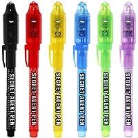 Maleden, penna a inchiostro invisibile, penna spia con luce UV, evidenziatore magico per bambini per messaggi segreti e…
