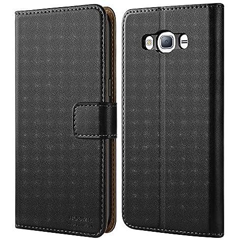 Coque Galaxy J3, HOOMIL Samsung J3 (2015/2016) Housse en Cuir Premium Flip Case Portefeuille Etui pour Samsung Galaxy J3 (H3006, Noir)