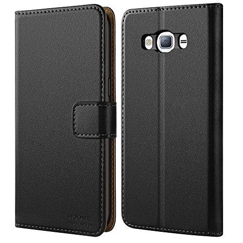 HOOMIL Galaxy J3 2016 Hülle, Premium Handy Schutzhülle für Samsung Galaxy J3 (2016) Duos Hülle Leder Wallet Tasche Flip Brieftasche Etui Schale (H3006, Schwarz)
