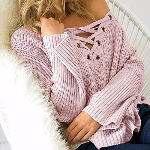 QIYUN.Z Sangle V Cou Pull Solides Tops Automne Longues Chandails Dos Femmes Rose