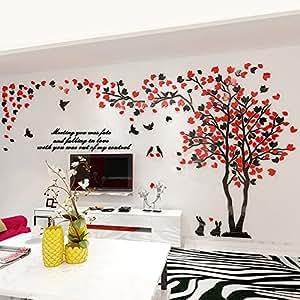 Alicemall 3D Adesivi Murali Wall Sticker Forma Albero Adesivi da Parete in Acrilico Foresta con Foglie Rosse e Nere