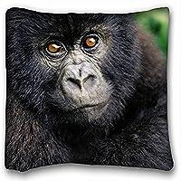 Decorativo Quadrato Throw Pillow Case animali Gorilla Baby s Cub pelose 18x 18in due lati