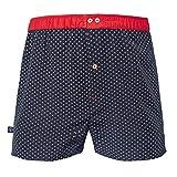 Les Gus - Caleçon Homme Coton - Couleur Bleu Marine à Motifs Encres Blanches - Ceinture Rouge - Taille L