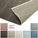 Designer-Teppich Pastell Kollektion | Flauschige Flachflor Teppiche fürs Wohnzimmer, Esszimmer, Schlafzimmer oder Kinderzimmer | Einfarbig, Schadstoffgeprüft (Braun Mandel, 60 x 90 cm)