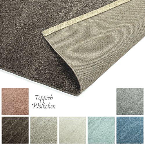 Designer-Teppich Pastell Kollektion | Flauschige Flachflor Teppiche fürs Wohnzimmer, Esszimmer, Schlafzimmer oder Kinderzimmer | Einfarbig, Schadstoffgeprüft (Braun Mandel, 40 x 60 cm)