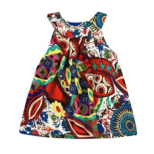 Kinderbekleidung,Honestyi Kleinkind Baby Kinder Mädchen Blume Bohemien Prinzessin Kleid Strand Sommerkleid Printkleider Casualkleider Minikleid (2T/100CM, Rot)