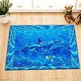LB Ozean,Delfin,Fisch,Blau_Flanell Bodenmatte Rutschfeste Badematte Innen/Draussen Fußmatte Teppich Kind Schlafzimmer Matte Teppich,40cm x 60cm