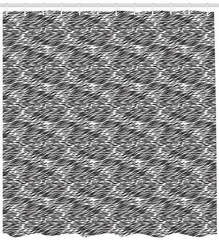 ABAKUHAUS Zebra-Druck Duschvorhang, Schwarz Weiß Camo, mit 12 Ringe Set Wasserdicht Stielvoll Modern Farbfest und Schimmel Resistent, 175x240 cm, Anthrazit grau Weiß
