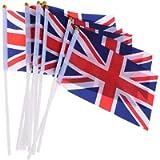 5pcs Union Jack Royal Street Party Hand Waving Flags Decoration Royal Celebration Flag Sporting Events Pub BBQ Royal…