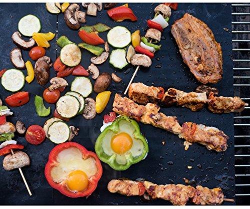 BBQ Grillmatte (5er Set), LoveisCool Silikon Grillmatte und Backmatte , Teflon Antihaftbeschichtung für bis 380°C, Grillmatte Geeignet zum Grillen, Ofen und Speisenheizung ( 40x33 CM, Schwarz) (Flügel Haben Schweine)