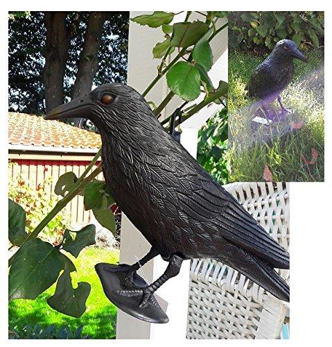 2er Set Vogelschreck Tauben & Schwalben Schreck Krähe Rabe inkl. Standfuss und Aufhängung Funktioniert garantiert