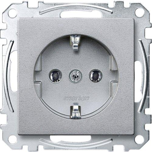 Merten MEG2301-0460 SCHUKO-Steckdose, Steckklemmen, aluminium, System M -