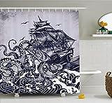 Abakuhaus Duschvorhang, Kraken Segelschiff auf Welligen Meer der von Einem Octopus Angegriffen Wird Möwen Druck, Blickdicht aus Stoff mit 12 Ringen Waschbar Langhaltig Hochwertig, 175 X 200 cm
