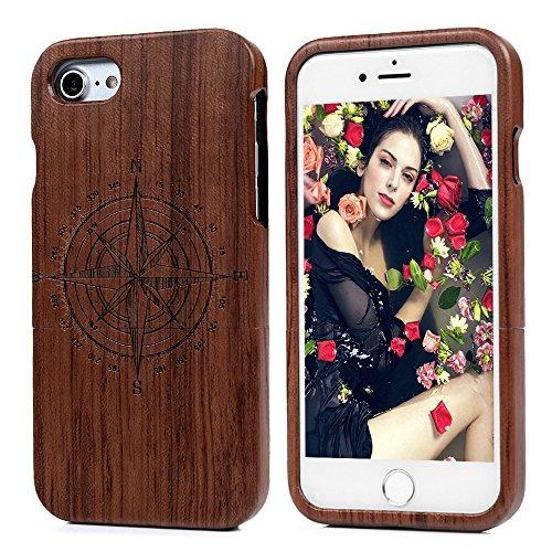 """Lanveni Coque iPhone 7(4.7""""),Housse Case de Protection en Bois avec PC pour iPhone 7(4.7"""") Motif Loup Motif Boussole Petite"""