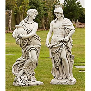 61GiRP2OSUL. SS300  - Large Garden Statues - Roman Gladiator & Goddess Stone Sculpture