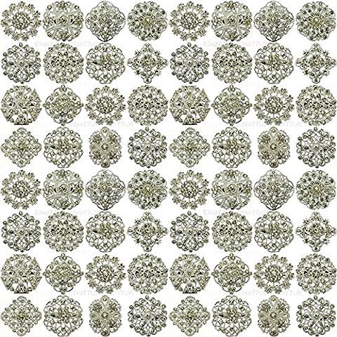 NEW 24pcs MIX SET SILVER FLOWER PIN BROOCHES DIAMANTE CRYSTAL JOBLOT BRIDAL BROOCH WEDDING UK SELLER