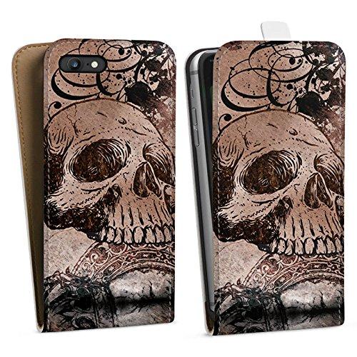 Apple iPhone X Silikon Hülle Case Schutzhülle Halloween Totenkopf Skull Downflip Tasche weiß