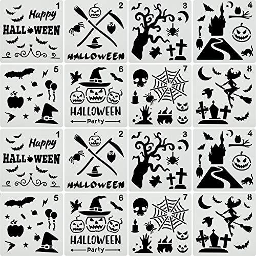 Outus 16 Stücke Halloween Schablonen Kunststoff Zeichen Vorlagen Thema Malerei Vorlage mit Kürbis, Fledermaus, Skelett, Eule, Hut, Skelett