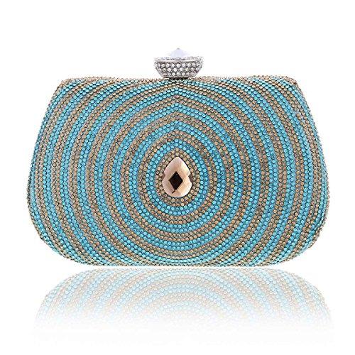 Damara® Graziös Damen Farbige Crystal Besetzte Kette Handtaschen Hellblau