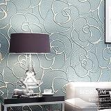 Rollo de papel tapiz KeTian para dormitorio, sala de estar, texturizado, con profundo grabado en relieve, sin tejido, con flores en 3D, minimalista y moderno. 0,53m de ancho x 10m de largo = 5,3 metros cuadrados., azul claro, 0.53m (1.73' W) x 10m(32.8'L)=5.3m2 (57 sq.ft)