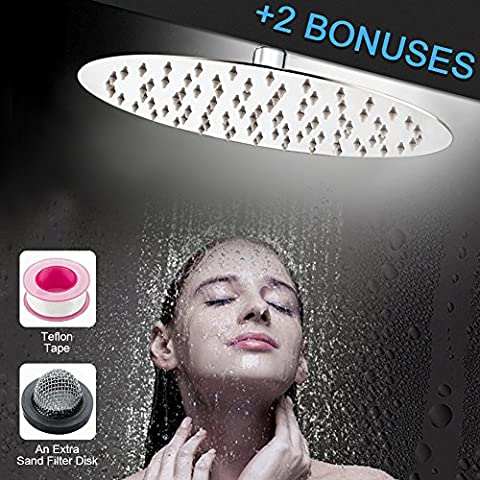 S R SUNRISE Extra Large 8-Inch Shower Head Fixed Round High Pressure Ultra Thin 304 Stainless Steel with Swivel 1/2 Metal Ball Connector