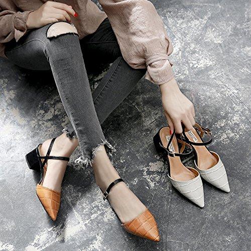 shoeshaoge Baotou sandali con un tallone e un parola semplice fibbia con una Bocca poco profonda alte scarpe di tallone Solid color