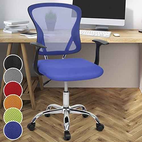 Miadomodo Sedia girevole da ufficio scrivania con sedile imbottito regolabile e schienale inclinabile e regolabile colore blu
