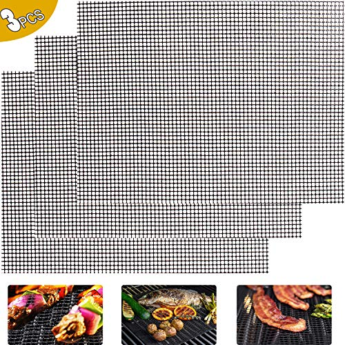 ODSPTER BBQ Grillmatte - 3er Set BBQ Grillen Mesh Matte BBQ Grill Pads Langlebiger Antihaftbeschichtung für Gas, Holzkohle Perfekt für Fisch, Fleisch und Gemüse - 40x30cm