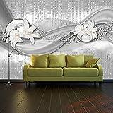 Fototapete abstrakte Lilien grau silber Vlies Tapete Wandtapete - Tapete - Moderne Wanddeko - Wandbilder - Fotogeschenke - Wand Dekoration wandmotiv24 Größe: XXL 400 x 280 cm - 8 Teile - Vlies