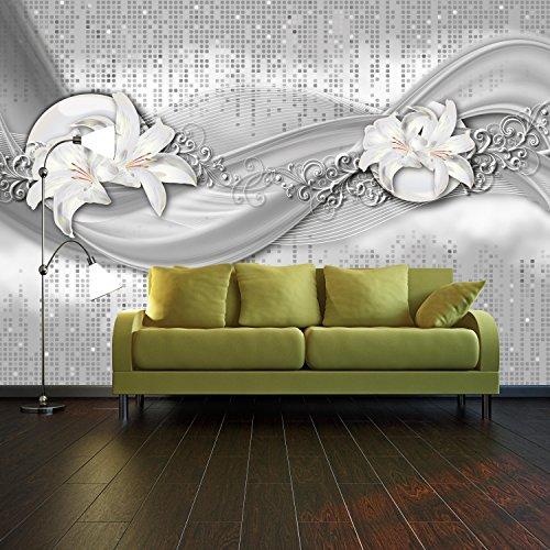#Fototapete abstrakte Lilien grau silber Vlies Tapete Wandtapete – Tapete – Moderne Wanddeko – Wandbilder – Fotogeschenke – Wand Dekoration wandmotiv24 Größe: XXL 400 x 280 cm – 8 Teile – Vlies#