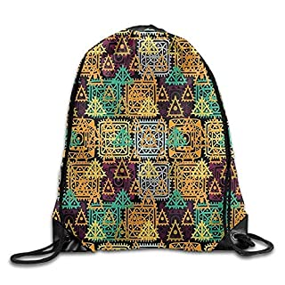 ZKHTO Modern Art Folk Aztec Motif with Ornate Triangles Rounds and Inner Spots Dots Figures Leisure Backpack